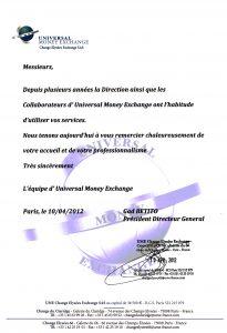 Testimonial - Universal Money Exchange
