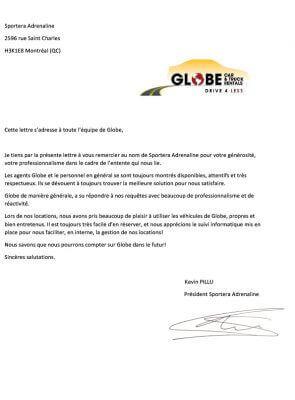 Lettre de remerciements Sportera