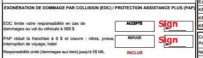 Exonération de dommage par collision